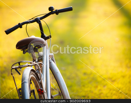 A bicycle in meadow during sunset stock photo, An old bicycle in meadow during sunset with shallow dept of field by pattarastock