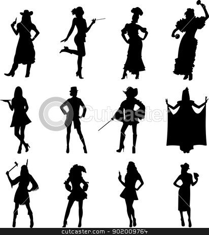 Girls in costumes for Halloween party silhouette stock vector clipart, Girls in costumes for Halloween party silhouette, one in the series of similar images  by Tijana Mihajlovic