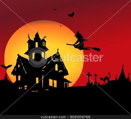 Halloween night scene stock photo, Halloween night scene background by Tijana Mihajlovic