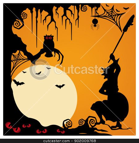 Halloween background with witch in twilight  stock vector clipart, Halloween background with witch in twilight  by Tijana Mihajlovic
