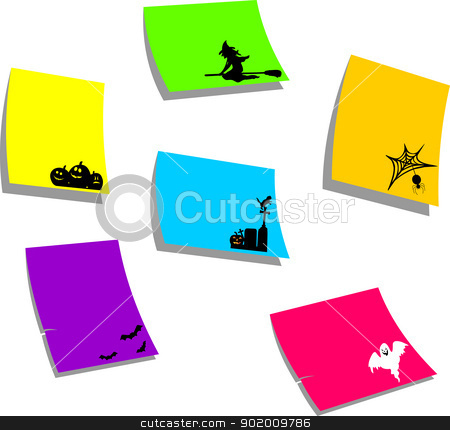 Halloween icons, sticky colorful memo note papers with Halloween symbols stock vector clipart, Halloween icons, sticky colorful memo note papers with Halloween symbols, one in the series of similar images silhouette  by Tijana Mihajlovic