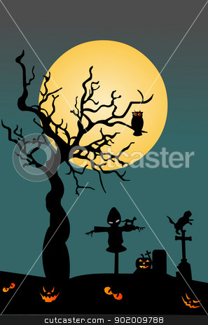 Halloween background on cemetery with scarecrow and owl on scary tree stock vector clipart, Halloween background on cemetery with scarecrow and owl on scary tree by Tijana Mihajlovic