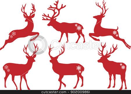 Christmas deer stags, vector set stock vector clipart, Christmas deer stag silhouettes, vector set by Beata Kraus