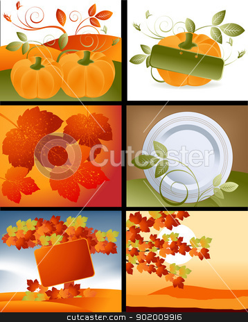 Thanksgiving Designs stock photo, Set of Thanksgiving deigns and backgrounds .  by Nabeel Zytoon