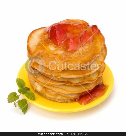Pancakes   stock photo, Pancakes  stack on white background by Natika