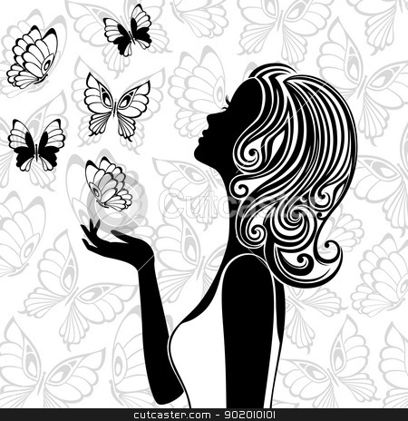 Silhouette of young woman with flying butterflies stock vector clipart, Line art of young woman with butterflies flying around by Allaya