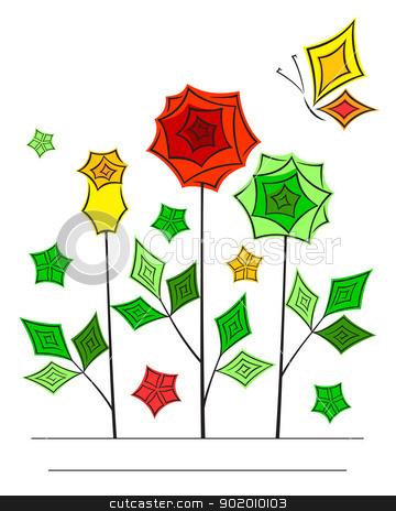 Artistic angular flower line art card stock vector clipart, Artistic angular flower line art oriental style card by Allaya