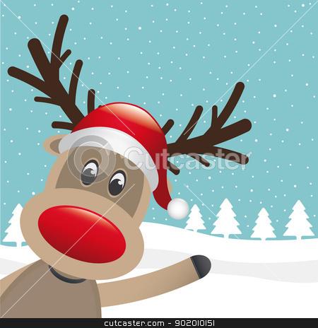 reindeer hat wave hand winter landscape stock vector clipart, reindeer santa hat wave hand winter landscape by d3images
