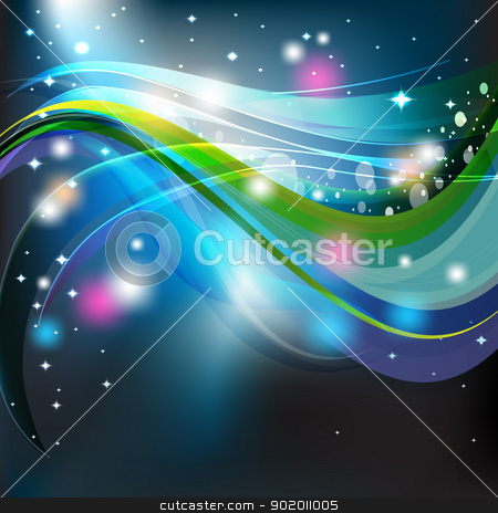 wavy dark sky stock photo, Abstract wavy dark sky, vector striped background  by hitus