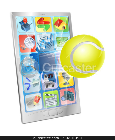 Tennis ball flying out of cell phone stock vector clipart, Illustration of a tennis ball flying out of a broken cell phone screen by Christos Georghiou