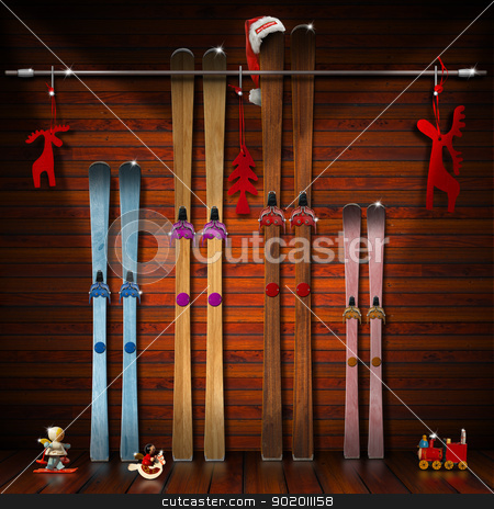 Christmas Holidays with Family stock photo, A pair of skis for each family member - winter holidays concept by catalby