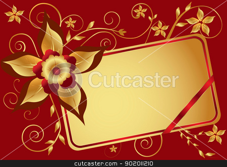 Red floral background stock vector clipart, Red background with gold flower ornament and a place for the text. by monicaodo