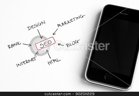 SEO Concept stock photo, SEO concept chart written on white paper arranged with smart phone by Tiramisu Studio
