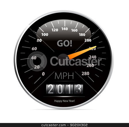 speedometer with 2013 counter in vector stock photo, speedometer with 2013 counter in vector on white background by sermax55
