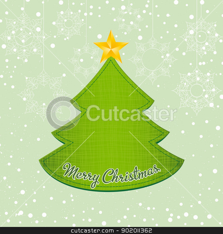 Christmas tree stock vector clipart, Christmas tree applique on snowy background by Miroslava Hlavacova