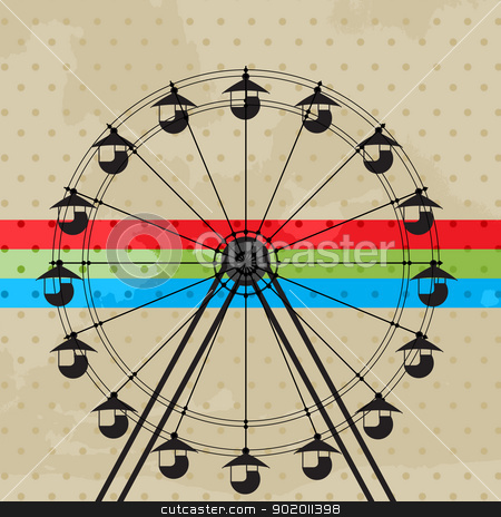 The fun wheel stock vector clipart, Amusement park icon, ferris wheel silhouette by Richard Laschon