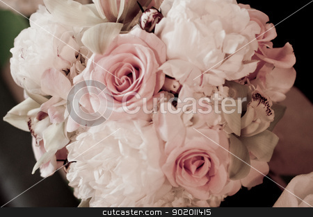 Pink Rose Bouquet stock photo, soft coloration of bouquet of pink and white roses by Katie Smith
