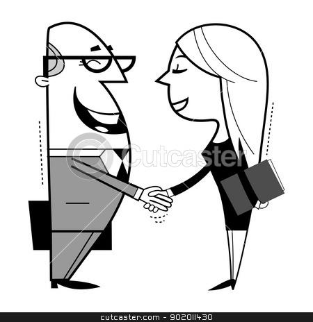 Shaking hands cartoon illustration. stock vector clipart, Shaking hands cartoon illustration. by Moenez