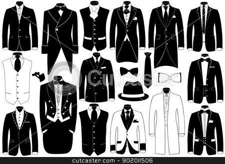 Suits illustration set stock vector clipart, Suits illustration set isolated on white by Ioana Martalogu