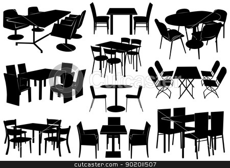 Illustration of tables and chairs stock vector clipart, Illustration of tables and chairs isolated on white by Ioana Martalogu