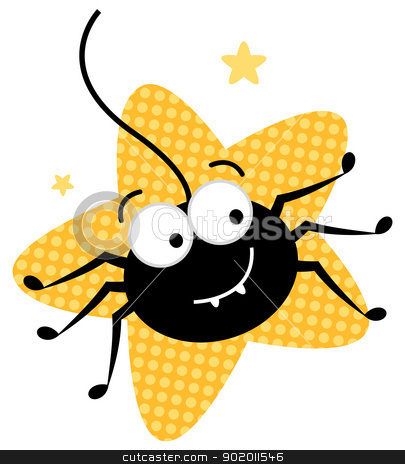 Cute crazy spider in star shape isolated on white stock vector clipart, Happy halloween spider. Vector cartoon illustration by BEEANDGLOW