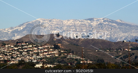 Topa Topa Snow stock photo, Snow on the mountains near Ventura California. by Henrik Lehnerer