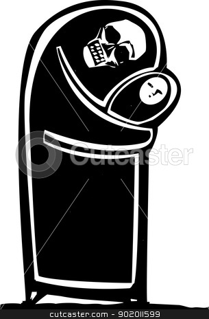 Death and Child stock vector clipart, Shrouded image of death embracing a child in an expressionistic style. by Jeffrey Thompson