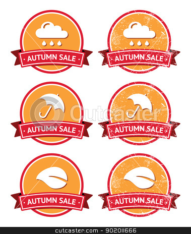 Autumn sale retro orange and red labels - grunge style stock vector clipart, Seasonal sales vintage old scratched badges by Agnieszka Murphy