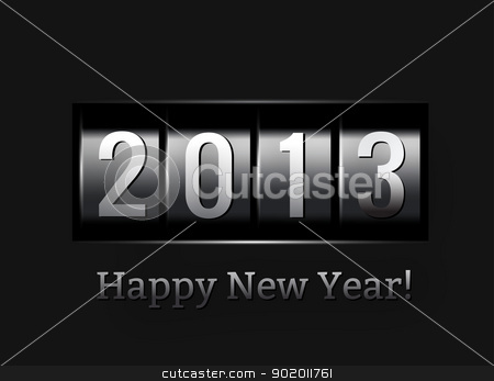 New Year counter 2013 stock photo, New Year counter 2013. Vector illustration on black by sermax55