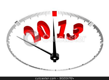 new year 2013 stock photo, new year 2013 concept clock closeup on whte background by sermax55