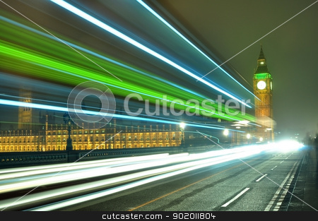 big ben stock photo, Big Ben at night along with the lights of the cars passing by by Tudor Antonel adrian