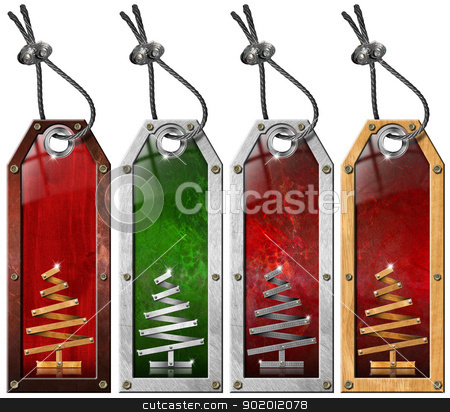 Set of Christmas Tags - 4 items stock photo, Four grunge metallic and wooden tags with stylized Christmas tree   by catalby