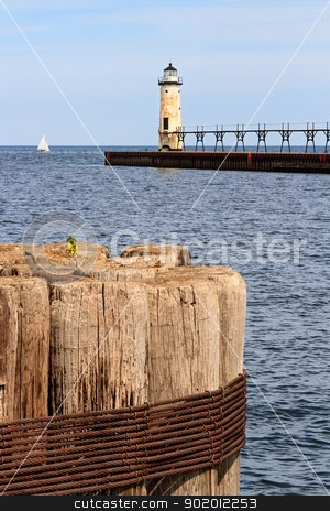 Manistee Lighthouse stock photo, Manistee North Pierhead Lighthouse, Michigan by Kenneth Keifer