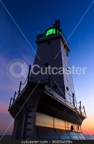 Ludington Lighthouse Afterglow stock photo, The Ludington, Michigan North Breakwater Lighthouse on Lake Michigan by Kenneth Keifer
