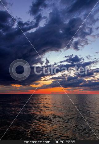 Big water at Sundown stock photo, Lake Michigan just after sunset seen from SLeeping Bear Dune National Lakeshore, Michigan, USA. by Kenneth Keifer