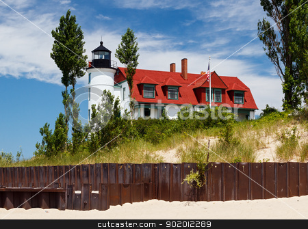 Pointe Betsie Lighthouse stock photo, Pointe Betsie Lighthouse with Beach Seawall by Kenneth Keifer