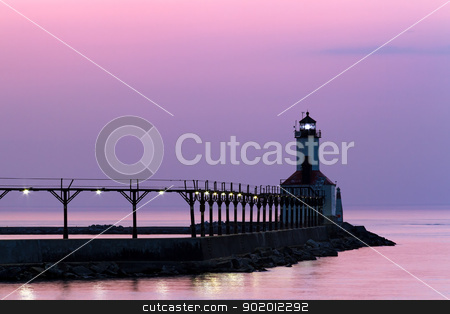 Michigan City Light at Twilight stock photo, The East Pierhead Light, Michigan City, IN with Catwalk at Twilight by Kenneth Keifer