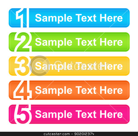 One Two Three Four Five Header Blocks stock vector clipart, Numbered web buttons in five differenet colors by Ludek Vodicka