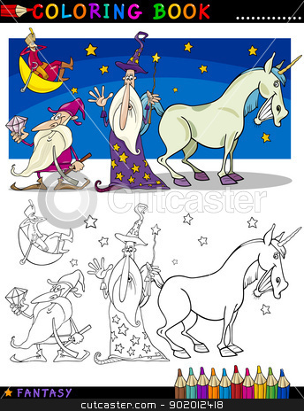 Fantasy Characters for coloring stock vector clipart, Coloring Book or Page Cartoon Illustration of Wizard and Dwarf and Unicorn Fairytale Characters by Igor Zakowski