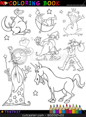 Fantasy Characters for coloring stock vector clipart, Coloring Book or Page Cartoon Illustration of Wizard and Dwarf and Unicorn and Dragon Fairytale Fantasy Characters by Igor Zakowski