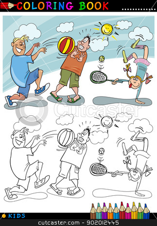 children playing ball cartoon for coloring stock vector clipart, Coloring Book or Page Cartoon Illustration of Boys playing Ball and Little Girl playing Tennis by Igor Zakowski