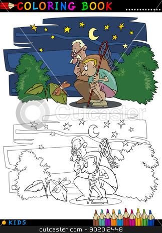 boy with grandfather for coloring stock vector clipart, Coloring Book or Page Cartoon Illustration of Boy with his Grandfather looking at Moth by Igor Zakowski