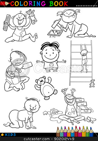 cartoon cute babies for coloring stock vector clipart, Coloring Book or Page Cartoon Illustration of Funny Cute Babies and Children by Igor Zakowski