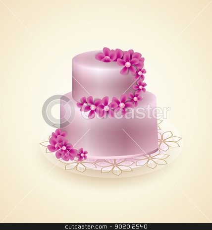 Sweet cake stock vector clipart, Sweet pink cake for celebrations, vector illustration by Miroslava Hlavacova