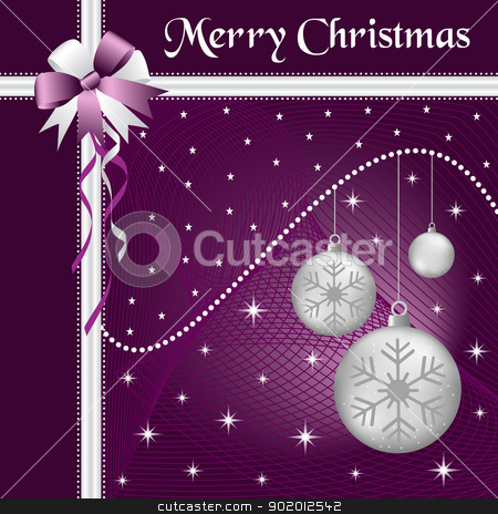 Xmas balls silver and bow stock vector clipart, Silver christmas balls with purple and silver bow and ribbon, decorated with stars on a purple glowing background. by toots77