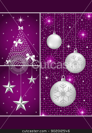 Christmas balls, tree and stars stock vector clipart, Christmas balls in silver with snowflakes, xmas tree and hanging stars on a purple themed background. by toots77