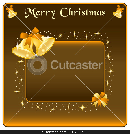 Christmas bells gold and bow stock vector clipart, Christmas bells in gold, brown bow and stars. Copy space for text. by toots77