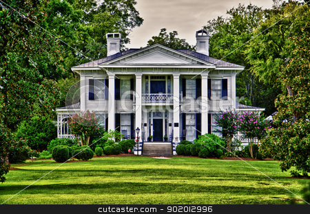 Burt-Stark House stock photo, Here on May 2, 1865, Jefferson Davis, in retreat but still fighting, held the last council of war of the Confederacy. Abbeville, South Carolina became the place where the Civil War was started and ended. There is a statue in town swuare that states,