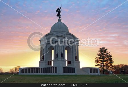 Pennsylvania Monument at Gettysburg stock photo, Sunrise at the Pennsylvania Monument in Gettysburg National Military Park. by Delmas Lehman