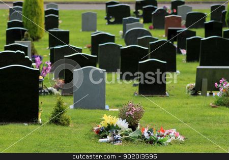 Flowers in cemetery stock photo, Flowers on new grave in cemetery with headstones in background. Focus on foreground. by Martin Crowdy
